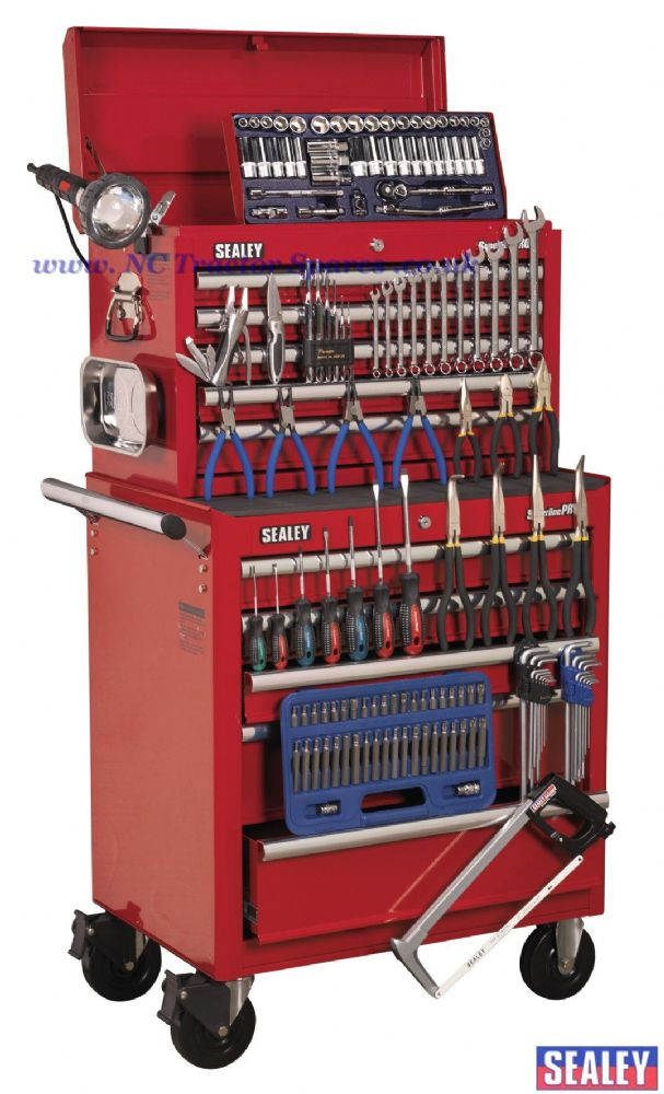Topchest & Rollcab Combination 10 Drawer with Ball Bearing Runners - Red & 146pc Tool Kit
